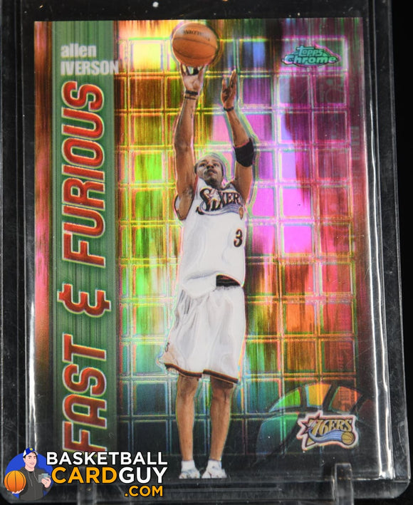 Allen Iverson 2001-02 Topps Chrome Fast and Furious Refractors #FF2 90's insert, basketball card, refractor