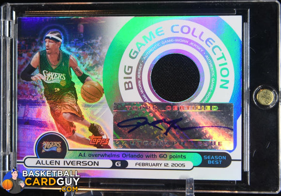 Allen Iverson 2005-06 Topps Big Game Relics Autographs #/129 - Basketball Cards