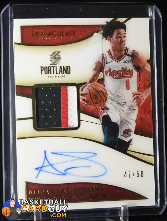Anfernee Simons 2019-20 Panini Immaculate FOTL Patch Auto #47/50 autograph, basketball card, numbered