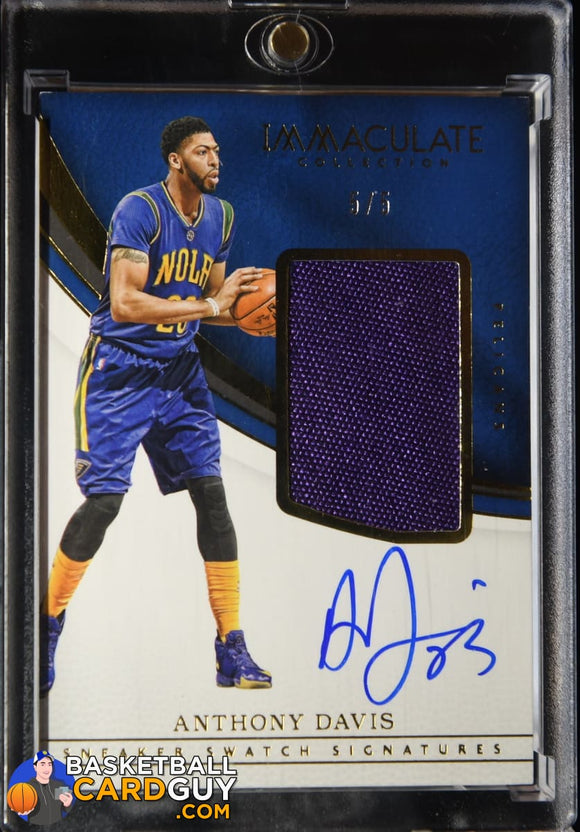 Anthony Davis 2016-17 Immaculate Collection Sneaker Swatch Signatures Jumbo #/5 autograph, basketball card, numbered, patch, shoe