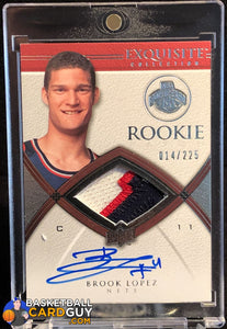 Brook Lopez 2008-09 Exquisite Collection #64 JSY AU RC - Basketball Cards