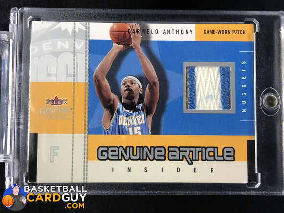 Carmelo Anthony 2003-04 Fleer Genuine Insider Genuine Article Insider #/50 basketball card jersey numbered