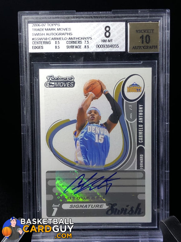 Carmelo Anthony 2006-07 Topps Trademark Moves Swish Autographs #/75 BGS 8 autograph basketball card graded