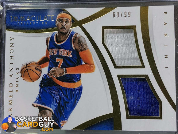 Carmelo Anthony 2014-15 Immaculate Collection Dual Memorabilia (Blue / White) Basketball Card Jersey Numbered