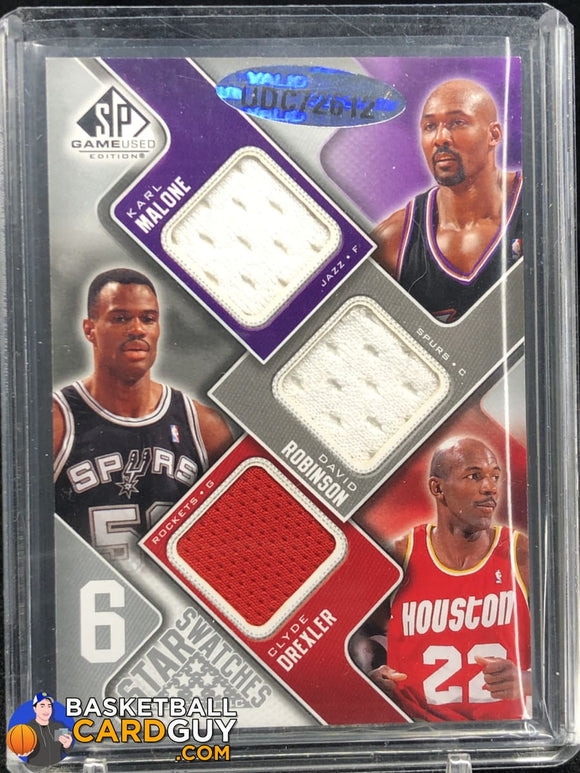 Carmelo Anthony/David Robinson/Clyde Drexler/Kevin Garnett/Amare Stoudemire/Karl Malone 2009-10 SP Game Used Six Star Swatches #6SMGSADR #/99 - Basketball Cards