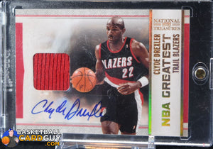 Clyde Drexler 2009-10 Playoff National Treasures NBA Greatest Materials Signatures #/49 - Basketball Cards