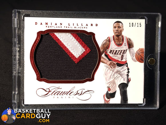 Damian Lillard 2013-14 Panini Flawless Patches Ruby #10/15 basketball card numbered patch