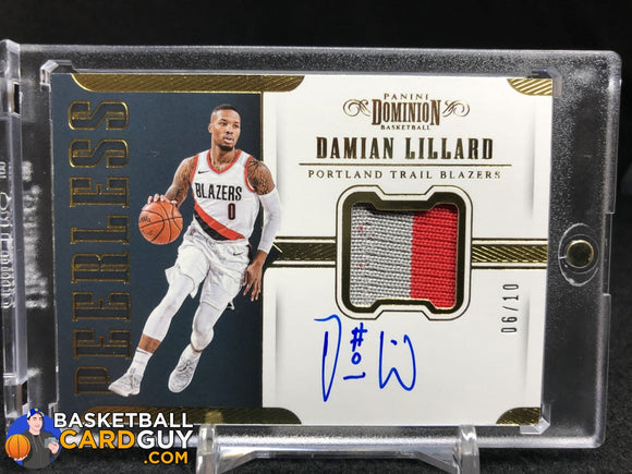 Damian Lillard 2017-18 Panini Dominion Peerless Jersey Autographs Gold #/10 autograph basketball card numbered patch