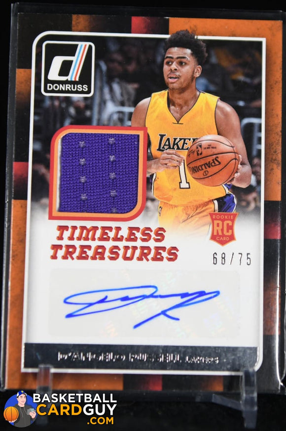 D'Angelo Russell 2015-16 Donruss Timeless Treasures Jersey Autographs RC #/75 autograph, basketball card, jersey, numbered