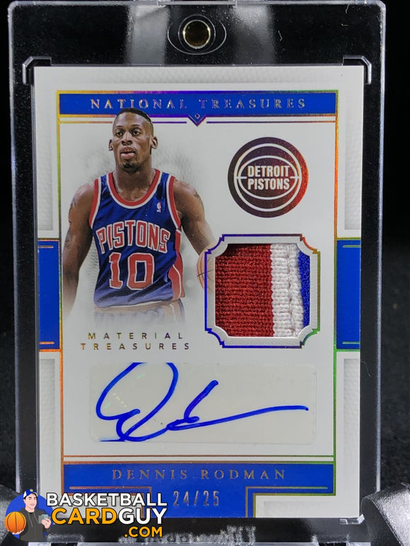 Dennis Rodman 2015-16 Panini National Treasures Material Treasures Signatures Prime /25 Autograph Basketball Card Numbered Patch