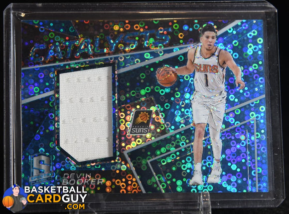 Devin Booker 2017-18 Panini Spectra Catalysts Memorabilia Neon Blue #/99 basketball card, game used, numbered