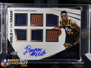 Donovan Mitchell 2017-18 Absolute Memorabilia Tools of the Trade Six Swatch Signatures #12 - Basketball Cards