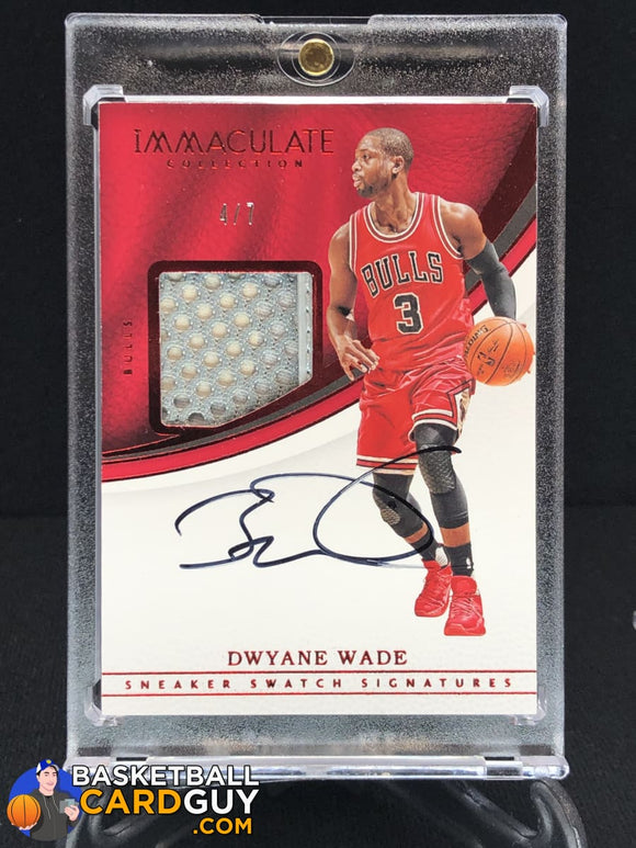 Dwyane Wade 2016-17 Immaculate Collection Sneaker Swatch Signatures Red #/7 - Basketball Cards