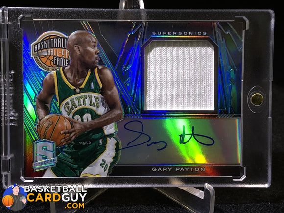 Gary Payton 2013-14 Panini Spectra Hall of Fame Jersey Autographs Light Blue #/20 - Basketball Cards
