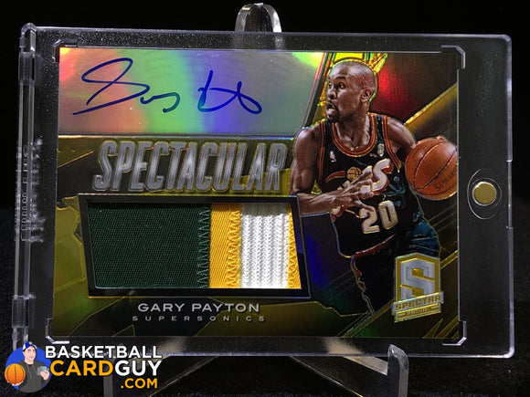 Gary Payton 2013-14 Panini Spectra Spectacular Swatch Signatures Gold #/10 - Basketball Cards