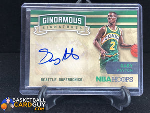 Gary Payton 2015-16 Hoops Ginormous Signatures #5 basketball card jersey