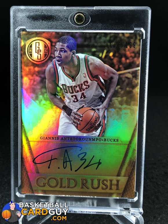 Giannis Antetokounmpo 2014-15 Panini Gold Standard Gold Rush Autographs #/199 - Basketball Cards