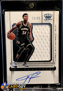 Giannis Antetokounmpo 2017-18 Crown Royale Autograph Relic Silhouettes #4/25 - Basketball Cards