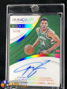 Giannis Antetokounmpo 2017-18 Immaculate Collection Immaculate Moments Autographs #/49 - Basketball Cards