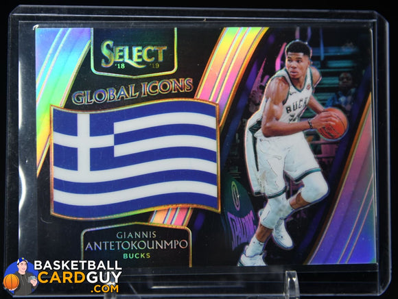 Giannis Antetokounmpo 2018-19 Select Global Icons Prizms Silver #/99 basketball card, prizm