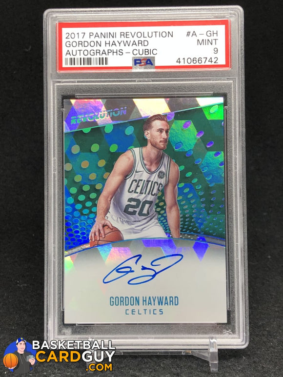 Gordon Hayward 2017-18 Panini Revolution Autographs Cubic #/50 PSA 9 MINT autograph basketball card graded numbered