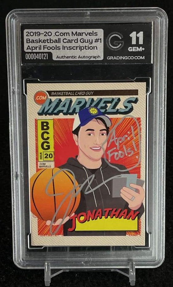 Grading Co. Gem+ 11 Basketball Card Guy Autographed Card with April Fools Inscription basketball card, graded