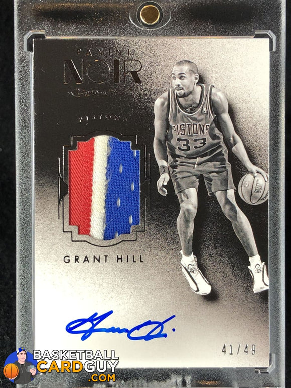 Grant Hill 2015-16 Panini Noir Autograph Materials Prime Black and White #/49 - Basketball Cards