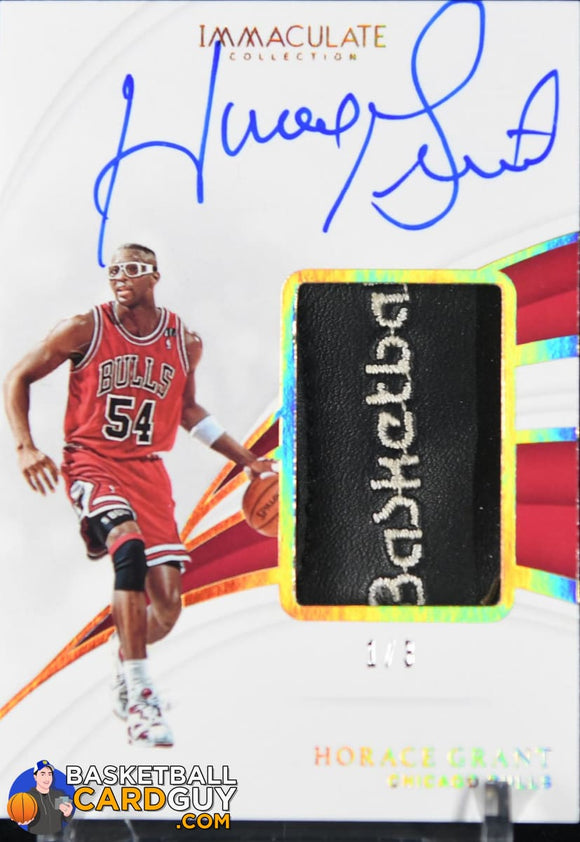 Horace Grant 2018-19 Immaculate Collection Sneaker Swatches Signatures Jumbo Gold #/3 autograph, basketball card, numbered, patch, shoe