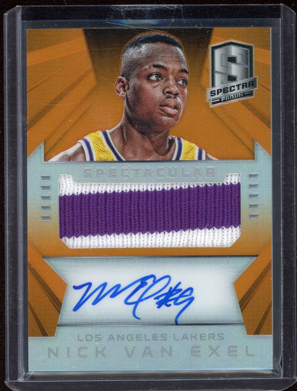 Nick Van Exel 2014-15 Panini Spectra Spectacular Swatches Signatures Prizms Orange - Basketball Cards