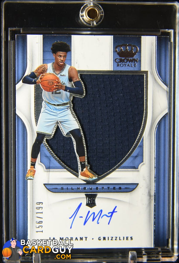 Ja Morant 2019-20 Crown Royale Silhouette JSY 117 #/199 autograph, basketball card, jersey, numbered, rookie card