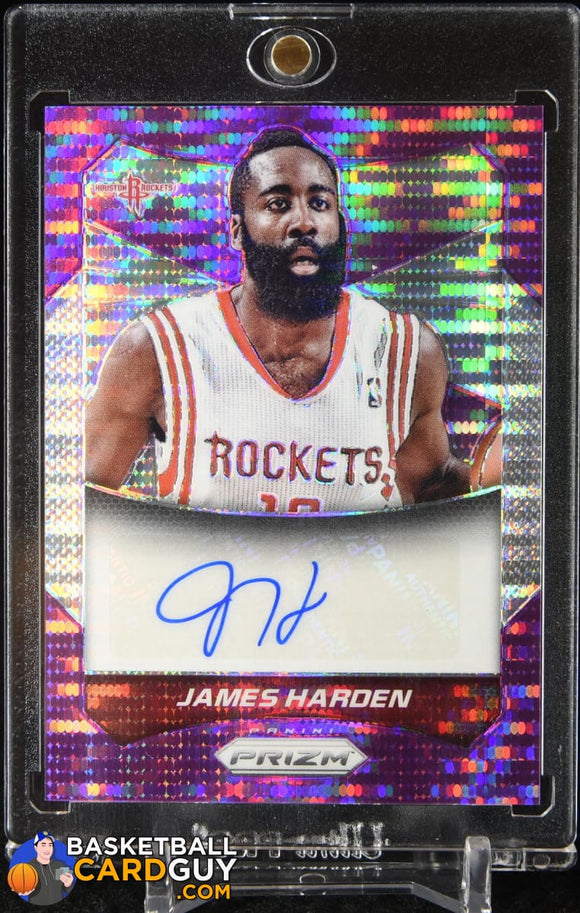 James Harden 2014-15 Panini Prizm Autographs Prizms Purple Pulsar #/15 autograph, basketball card, numbered, prizm