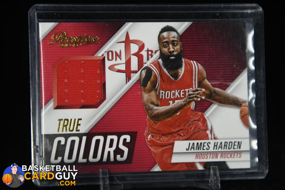 James Harden 2015-16 Prestige True Colors Materials #20 Game-Worn Jersey basketball card, jersey, numbered