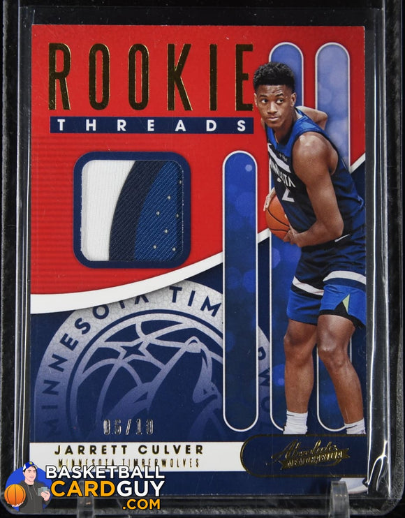 Jarrett Culver 2019-20 Absolute Memorabilia Rookie Threads Level 3 #/10 RC PATCH basketball card, numbered, patch, rookie card