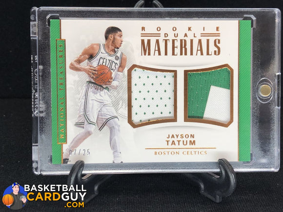 Jayson Tatum 2017-18 Panini National Treasures Rookie Dual Materials Bronze #/25 - Basketball Cards