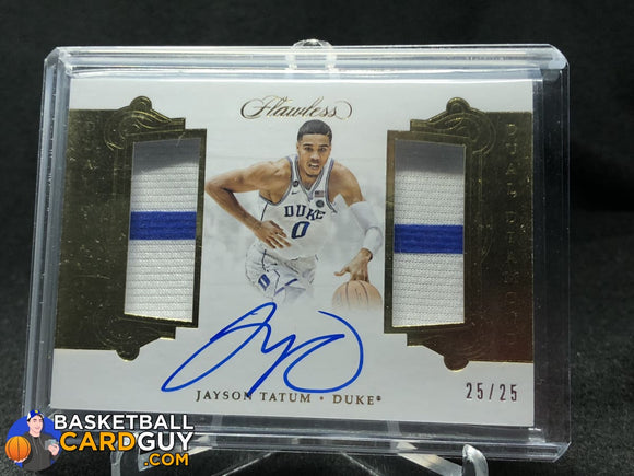 Jayson Tatum 2018 Panini Flawless Collegiate Dual Diamond Memorabilia Autographs #/25 - Basketball Cards
