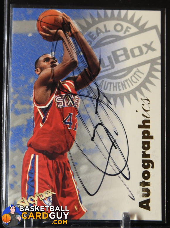 Jerry Stackhouse 1997-98 SkyBox Premium Autographics #98 Sixers autograph, basketball card