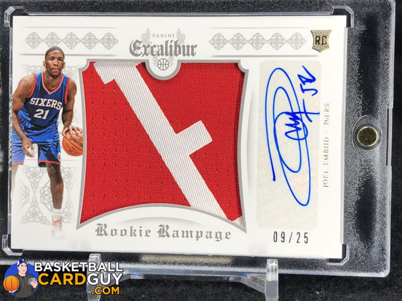 Joel Embiid 2014-15 Panini Excalibur Rookie Rampage Autograph Jerseys Prime Letter RPA #/25 - Basketball Cards