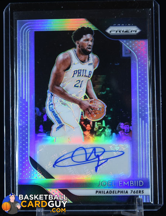 Joel Embiid 2018-19 Prizm SIlver Prizm Autograph autograph, basketball card, prizm, refractor