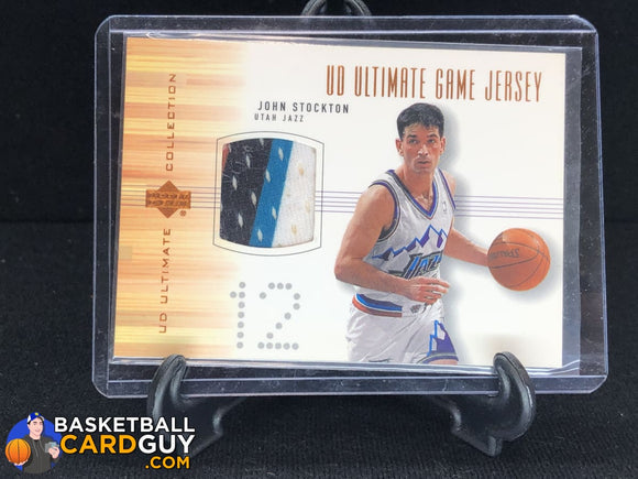 John Stockton 2000-01 Ultimate Collection Game Jerseys Bronze 4 Color Patch basketball card jersey