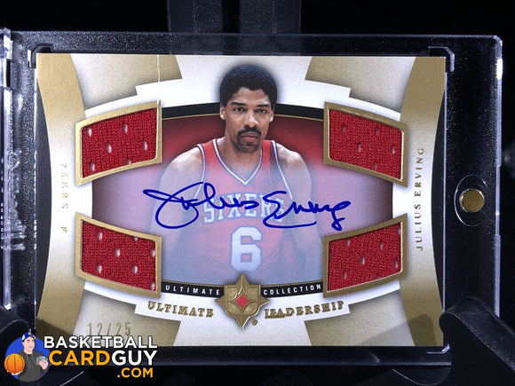 Julius Erving 2007-08 Ultimate Collection Leadership Autographs Autograph Basketball Card Jersey Numbered Refractor
