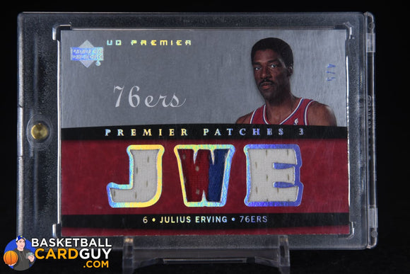 Julius Erving 2007-08 Upper Deck Premier Patches Triple Silver Spectrum #/5 basketball card, game used, numbered, patch