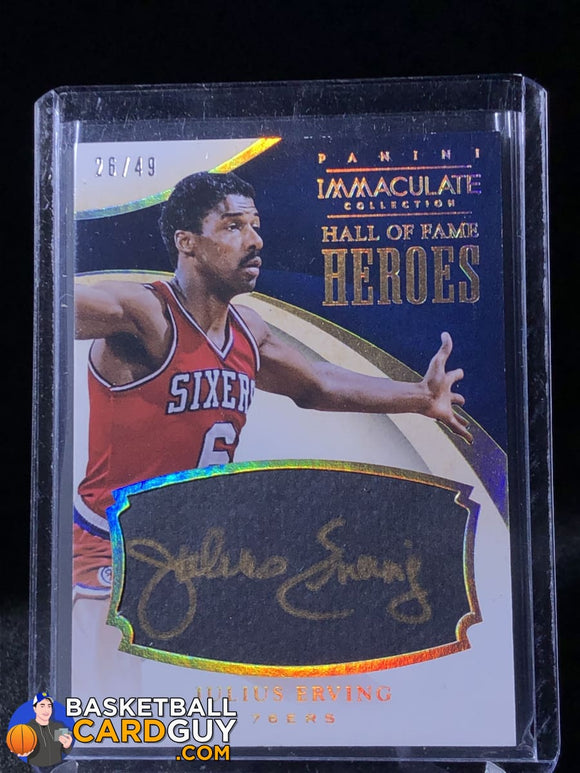 Julius Erving 2013-14 Immaculate Collection HOF Heroes Signatures #/49 - Basketball Cards
