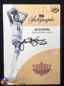 Julius Erving 2016-17 Supreme Hardcourt Jumbo Autographed Floor UDA autograph basketball card