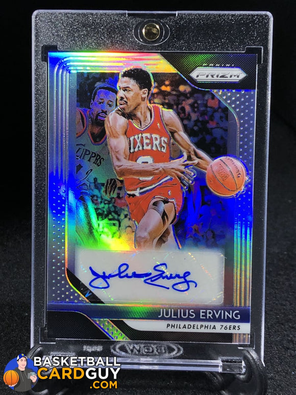 Julius Erving 2018-19 Panini Prizm Signatures Prizms Silver Basketball Card Numbered Patch