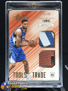 Karl-Anthony Towns 2015-16 Absolute Memorabilia Tools of the Trade Rookie Materials Dual Prime #/49 - Basketball Cards