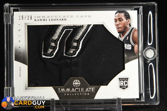 Kawhi Leonard 2012-13 Immaculate Collection Rookie Caps #/29 basketball card, numbered, player worn, rookie card