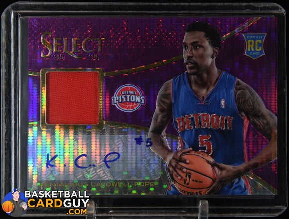 Kentavious Caldwell-Pope 2013-14 Select Rookie Jersey Autographs Purple #28 #/60 autograph, basketball card, numbered, prizm