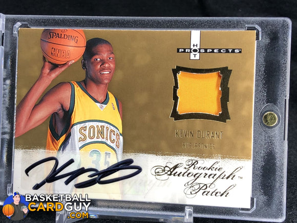 Kevin Durant 2007-08 Fleer Hot Prospects #123 Rookie Patch Auto RPA RC - Basketball Cards