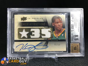 Kevin Durant 2008-09 Upper Deck Premier Attractions Autographs Jerseys #ATKD BGS 8.5 - Basketball Cards