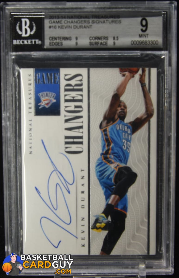 Kevin Durant 2013-14 Panini National Treasures Game Changers Signatures #16 BGS 9 autograph, basketball card, numbered, prizm